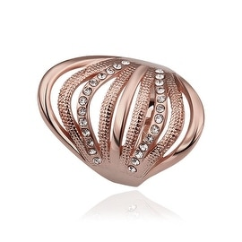 Rose Gold Plated Half Wheel Crystal Lining Ring