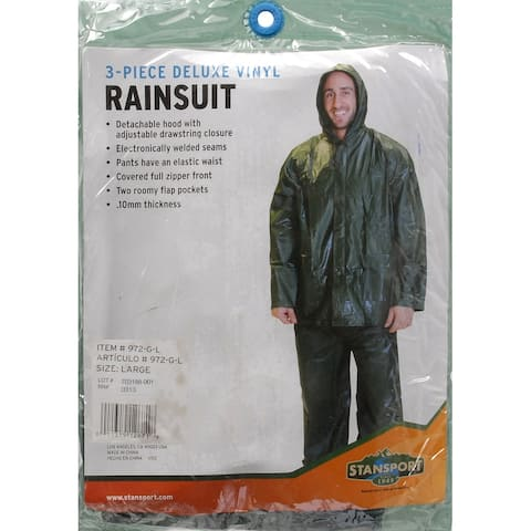 Stansport 972-g-l green .10mm rainsuit - large