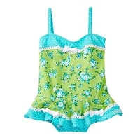 Azul Little Girls Turquoise Green Garden Party Skirted One Piece Swimsuit