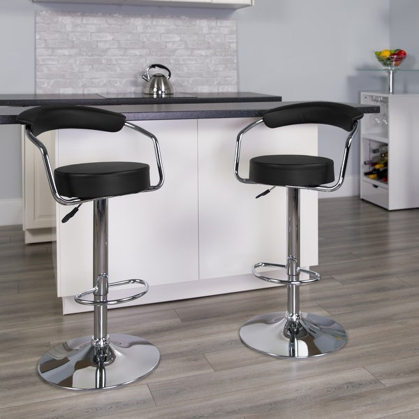 "Contemporary Vinyl Adjustable Chrome Barstool - 34-42.5""H. Opens flyout."