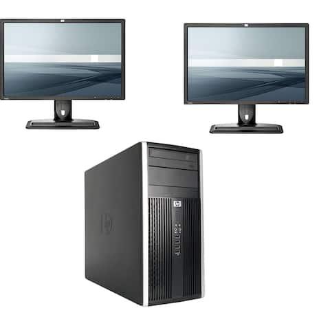 "HP 6300 Tower Core i5-3470 16GB 2TB DVDRW with 2 Dual 24"" Monitors Windows 10 Pro (Refurbished)"