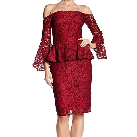 Laundry by Shelli Segal Women's Lace Peplum Sheath Dress, Red, 2