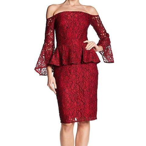 Laundry by Shelli Segal Women's Lace Peplum Sheath Dress, Red, 4