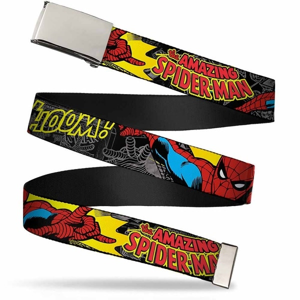 Marvel Comics blank Chrome Buckle Spider Man In Action W Amazing Web Belt - S