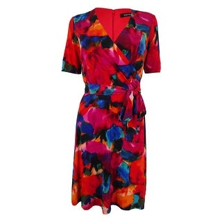 Ellen Tracy Women's Watercolor Print Dress - Red Multi