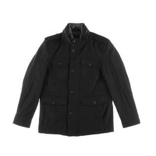 Guess NEW Deep Black Mens Size Large L Full-Zip Chest-Pocket Jacket