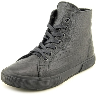 Superga 2095 Plus Women Round Toe Leather Black Sneakers