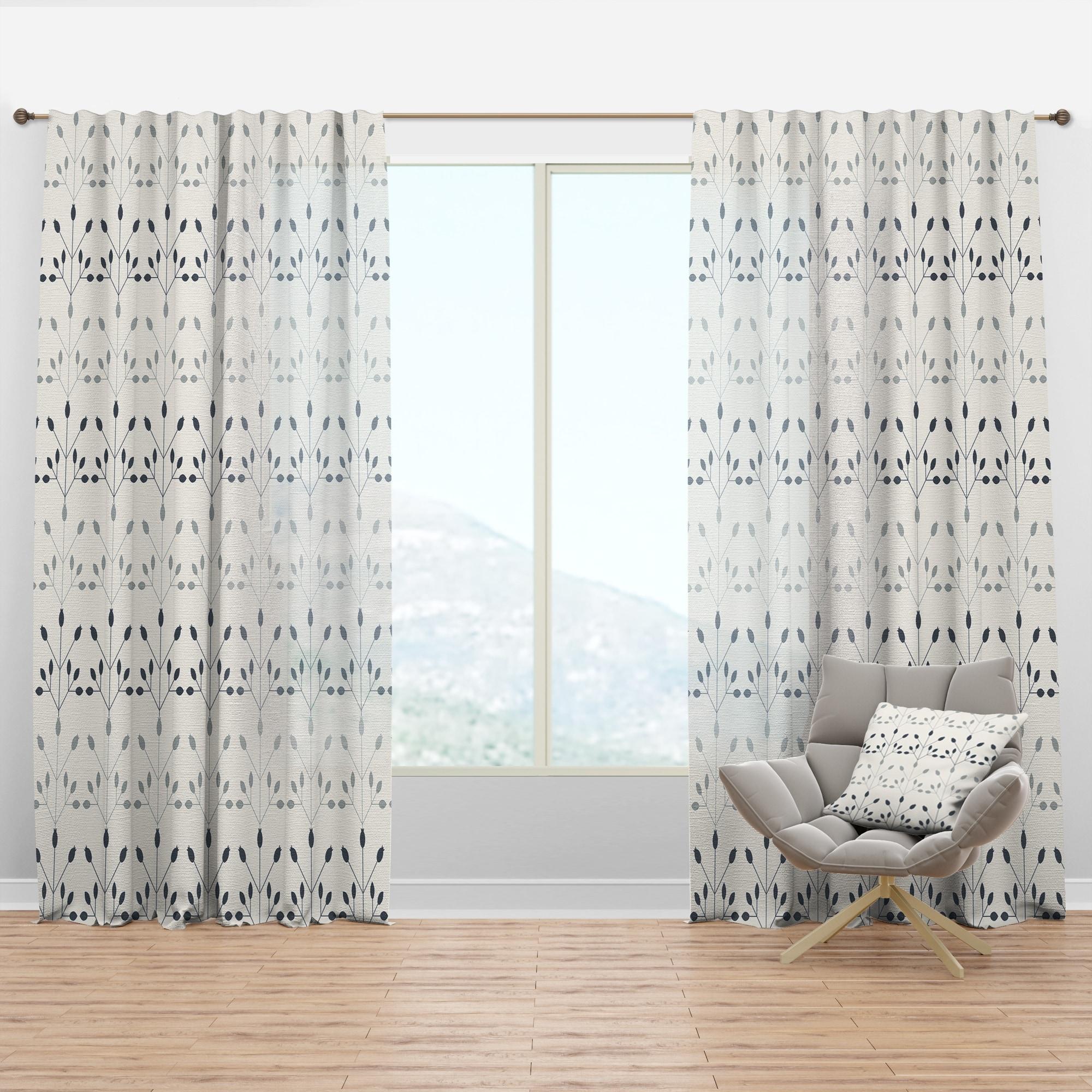 Shop Black Friday Deals On Designart Floral Retro Botanical Pattern I Mid Century Modern Curtain Panel Overstock 29625787