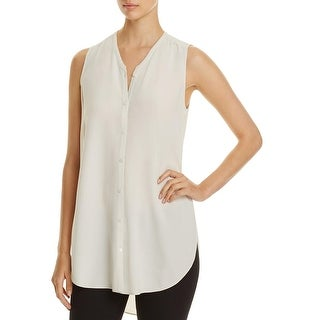 Eileen Fisher Womens Button-Down Top Silk Crepe