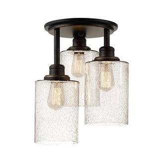 Globe Electric 65904 Annecy 3 Light Semi Flush Ceiling Light with Seeded Glass S