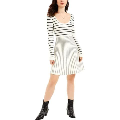 Guess Womens Nash Sweaterdress Ribbed Knit Striped - Dove White/Jet Black Multi