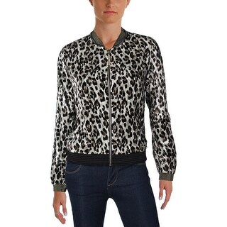 T Tahari Womens Fatima Bomber Jacket Animal Print Metallic Trim