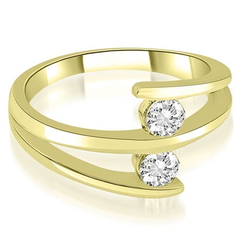 0.50 cttw. 14K Yellow Gold Two Stone Tension Split Shank Diamond Wedding Ring