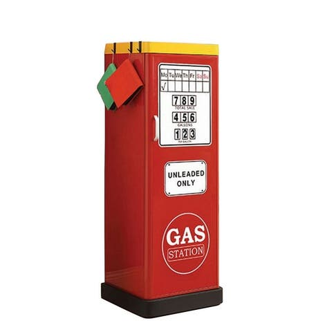 1 Door Metal Closet with Gas Station Print and Curved Handles, Red