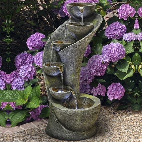 Outdoor Fountain for Garden Curved Indoor-Outdoor Fountain w/LED Light