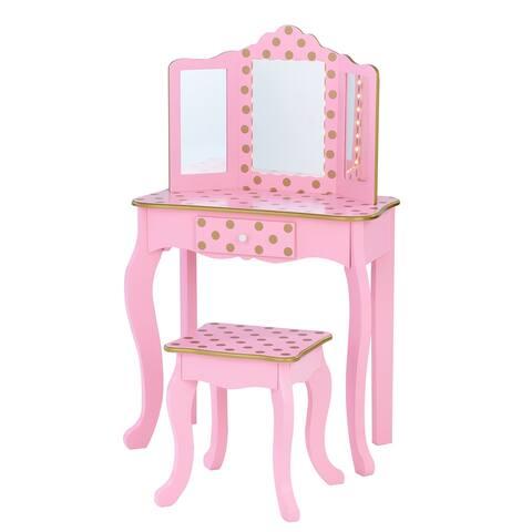 Teamson Kids - Fashion Polka Dot Prints Gisele Play Vanity Set with LED Mirror Light - Pink / Rose Gold