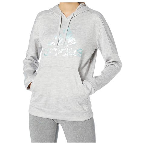 Adidas Womens Sweater Gray Size XS Hooded Kangaroo-Pocket Logo-Print