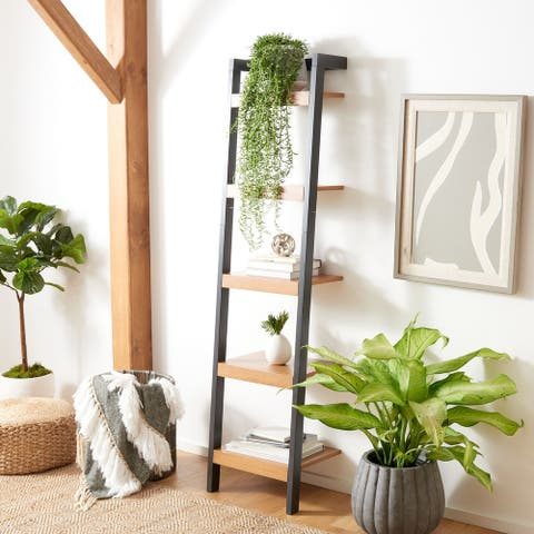 """Safavieh Yassi Natural/Charcoal 5-Tier Leaning Etagere - 18.1"""" W x 11"""" L x 72.4"""" H"""
