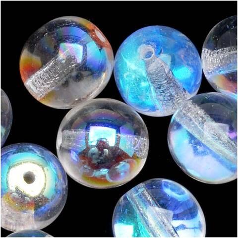 Czech Glass Druk Round Beads 6mm Crystal AB (25)
