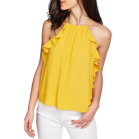 1. STATE Womens Gold Sleeveless Halter Top Size: L