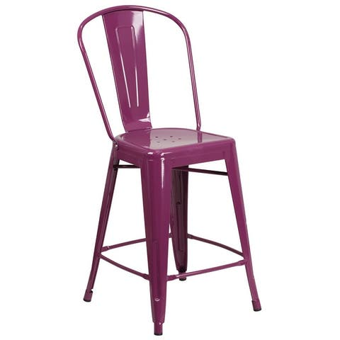 24-inch High Metal Indoor-Outdoor Counter Height Stool with Back