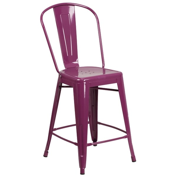 """24'' High Metal Indoor-Outdoor Counter Height Stool with Back - 17.75""""W x 22""""D x 40.25""""H"""