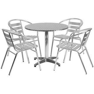 "Offex 31.5"" Round Aluminum Indoor-Outdoor Table With 4 Slat Back Chairs"