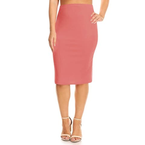 Women's Solid Color Plus Size Pencil Skirt