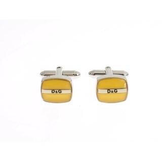 Dolce & Gabbana Yellow Silver Brass Branded Round Cufflinks - One size