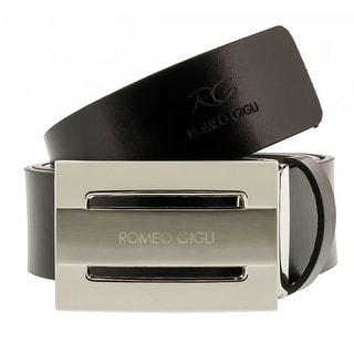 Romeo Gigli C974/35S NERO Black Leather Adjustable Mens Belt