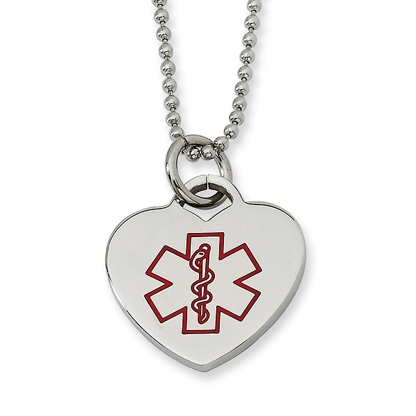 Chisel Stainless Steel Red Enamel Heart Shaped Medical Pendant 22 Inch Necklace (1 mm) - 22 in