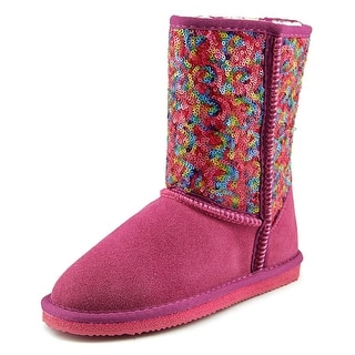Lamo Swquin Girl Pattern Youth Round Toe Leather Pink Winter Boot