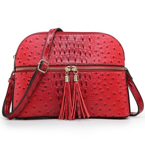 Dasein Ostrich Embossed Leather Crossbody Messenger Bag