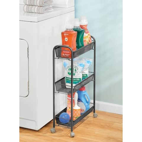 mDesign Portable Metal Rolling Laundry Utility Cart - 3-Tier