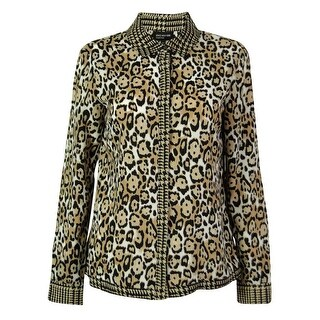 Jones New York Women's Leopard Print Patterned Front Buttoned Top - ivory combo - 4
