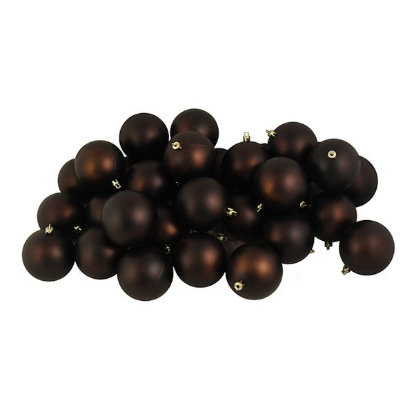 "12ct Matte Chocolate Brown Shatterproof Christmas Ball Ornaments 4"" (100mm)"