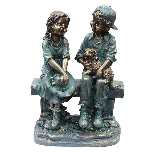 Alpine Corp. Girl and Boy Sitting on Bench with Puppy Garden Statue