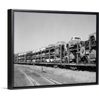 """""""1960's Railroad Freight Train Carrying Automobiles And Pickup Trucks"""" Black Float Frame Canvas Art"""