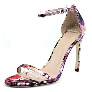 Stuart Weitzman Nudistsong Women Open Toe Patent Leather Multi Color Sandals
