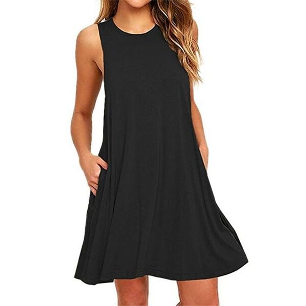 Women's Long Sleeve Pockets Casual Swing T-Shirt Dresses
