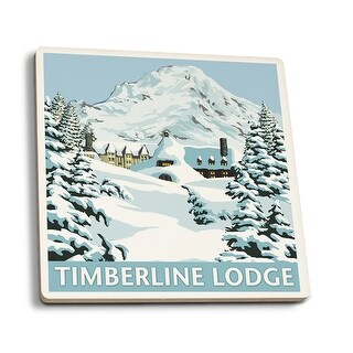 Mt Hood, OR - Timberline Lodge Winter - LP Artwork (Set of 4 Ceramic Coasters)