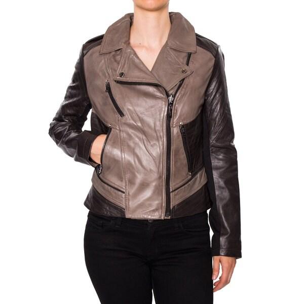 Laundry Women's Genuine Lamb Leather Motorcycle Jacket