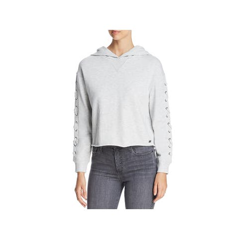 Marc New York by Andrew Marc Womens Hoodie Lace-Up Crop