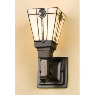"""Meyda Tiffany 50628 5"""" Wide Single Light Wall Sconce with Stained Glass Shade"""