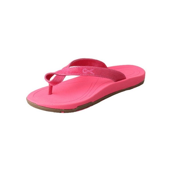 Twisted X Casual Shoes Womens Red Buckle Flip Flops Pink
