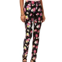 XOXO Black Pink Women's Size 0 Stretch Floral Printed Pants