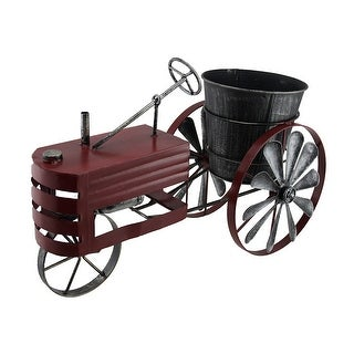 Weathered Red Finish Metal Farm Tractor Planter Pot