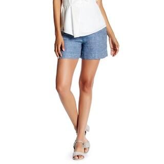 Derek Lam 10 Crosby Denim Blue Womens 2 High-Waist Linen Shorts