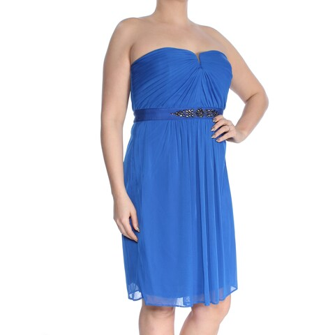 ADRIANNA PAPELL Womens Blue Embellished Ruched Tulle Strapless Knee Length Party Dress Size: L