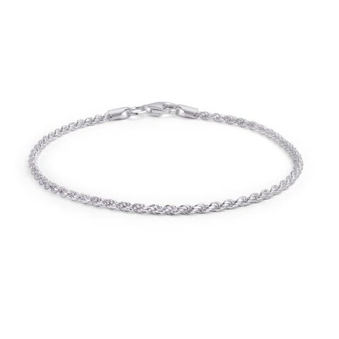 Simple Plain Twist Rope Chain Bracelet For Women 925 Sterling Silver 40 Gauge Made in Italy